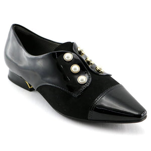 Black Pat with Microfibra and Pearl accessories loafer (278.003) - SIMPLY SHOES HONG KONG