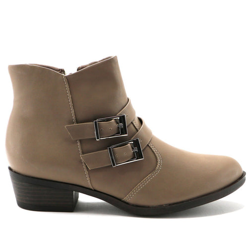 Buckles Taupe Napa Ankle Boot (652.006)