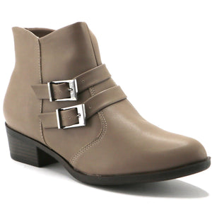 Buckles Taupe Napa Ankle Boot (652.006) - SIMPLY SHOES HONG KONG