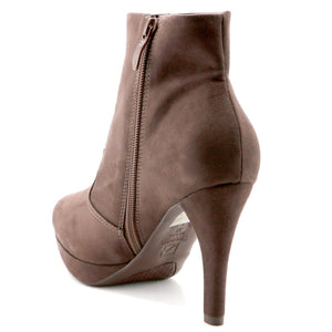 Brown Microfiber Ankle Boots (841.027) - SIMPLY SHOES HONG KONG