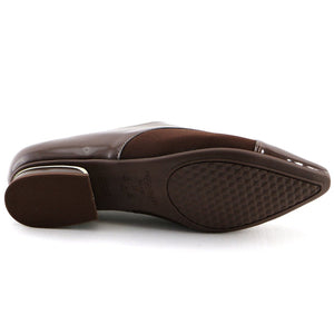 Brown Napa and stretch Ladies loafer (278.007) - SIMPLY SHOES HONG KONG
