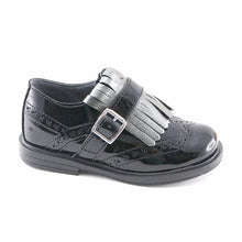 Black leather girls tassel shoes (SS-7118)