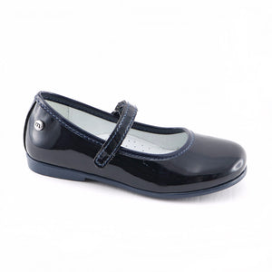 Dark Navy Leather Girls Ballerina (SS-7121) - SIMPLY SHOES HONG KONG