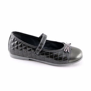 Grey Leather Ballerina (SS-7122) - SIMPLY SHOES HONG KONG