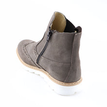 Grey Leather Girls Ankle Boots (SS-7127)