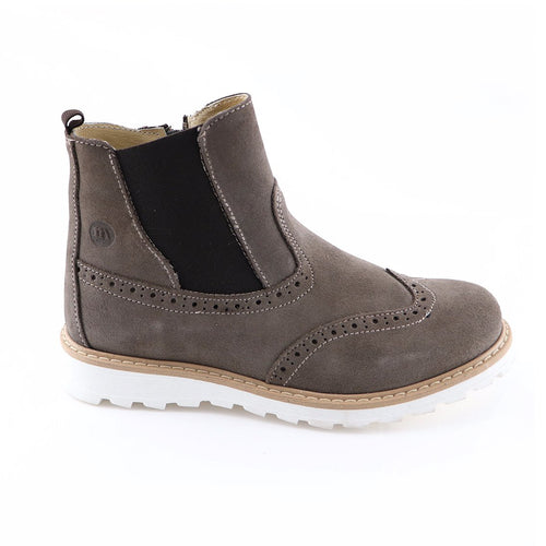 Grey Leather Girls Ankle Boots (SS-7127) - SIMPLY SHOES HONG KONG