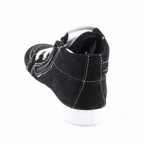 Black Leather Sneakers (SS-7129) - SIMPLY SHOES HONG KONG