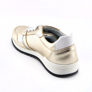 Gold Leather Girls Sneakers (SS-7130)
