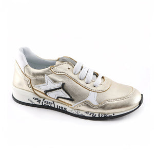 Gold Leather Girls Sneakers (SS-7130) - SIMPLY SHOES HONG KONG
