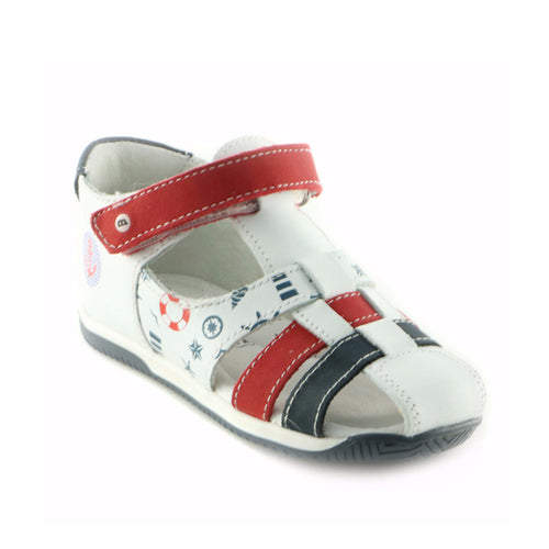 White Combo Leather Sandals (SS-8004) - SIMPLY SHOES HONG KONG