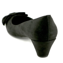 Black Microfiber with bow Ladies Pumps (119.005)