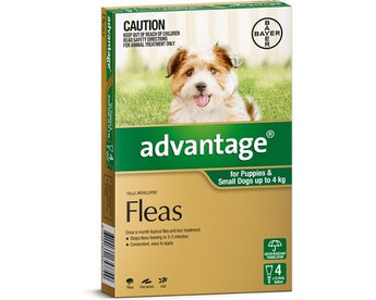 ADVANTAGE GREEN FOR SMALL DOGS AND PUPPIES UP TO 4KG (4PK)