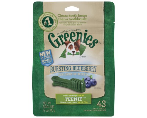 Greenies Blueberry Treat Pack Teenie (2-7kg dogs) 43 Pieces 340G One PK