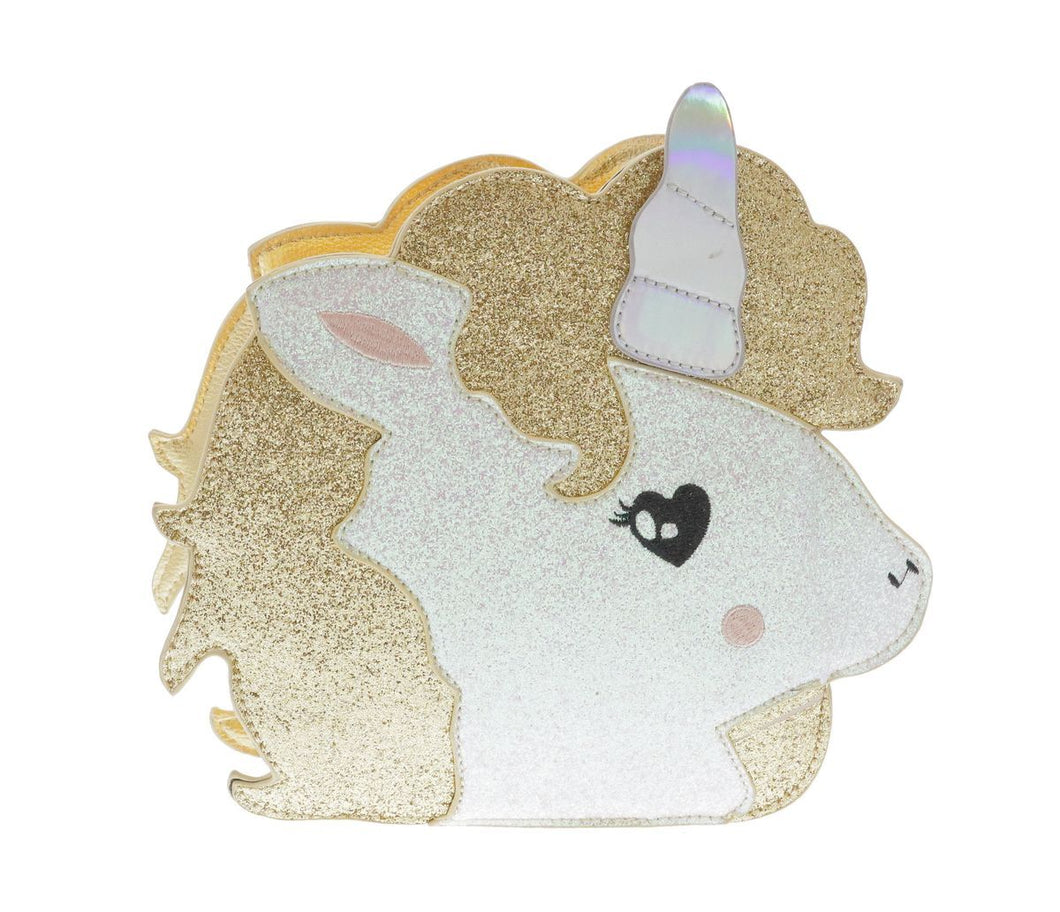 DOE A DEAR- GOLD UNICORN CROSSBODY PURSE