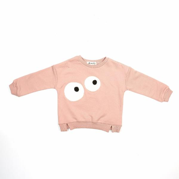 DOE A DEAR- L/S BIG EYES CREWNECK W/ SLIT TRIM