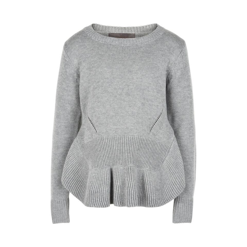 Girl's knitted sweater in gray with details around the hem - Eli and Ella Rose