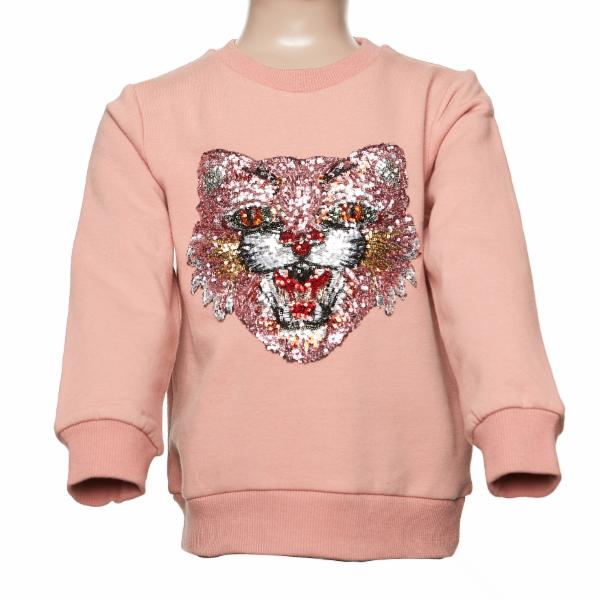 DOE A DEAR- L/S BOBCAT SWEATER W/ SEQUIN DETAILING (PINK)