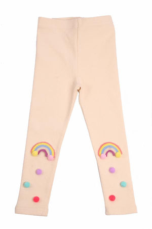 LITTLE WHO- TAN RAINBOW POM POM TIGHTS