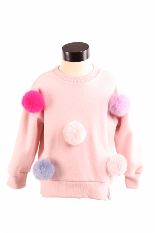 DOE A DEAR- MAUVE CHELSEA POM POM SWEATER
