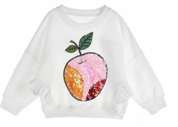 DOE A DEAR- WHITE SEQUIN APPLE CREW NECK SWEATER