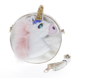 DOE A DEAR- GOLD ROUND SHAPED UNICORN PURSE W, FUR AND GLITTER DETAILING.