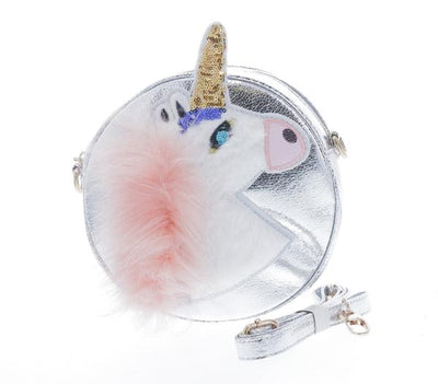 DOE A DEAR- SILVER ROUND SHAPED UNICORN PURSE W, FUR AND GLITTER DETAILING.