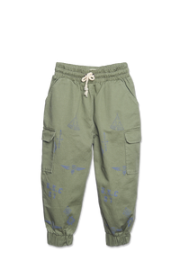 WANDER-N-WONDER- ARMY GREEN PRINTED CARGO PANTS