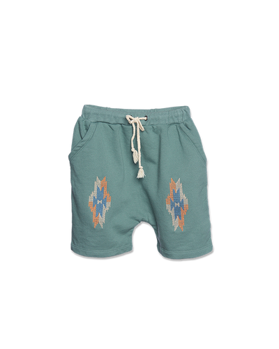 WANDER-N-WONDER - AZTEC SHORTS IN TEAL