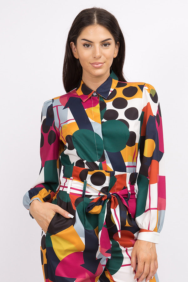 MOON COLLECTION- COLOR BLOCK TAILORED BUTTON DOWN