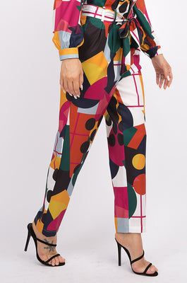 MOON COLLECTION - COLOR BLOCK PANTS W/ ATTACHED BELT