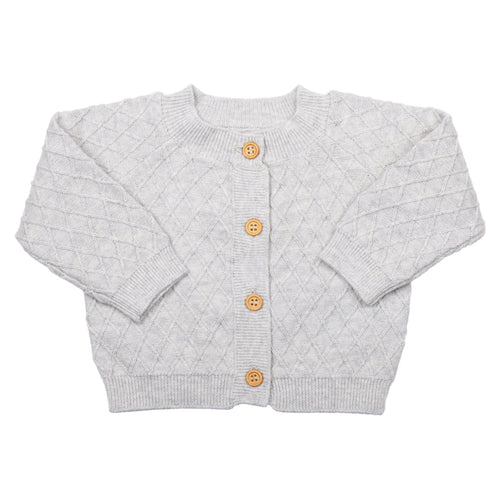 MIKI MIETTE- DOVE GRAY KNIT CARDIGAN SWEATER
