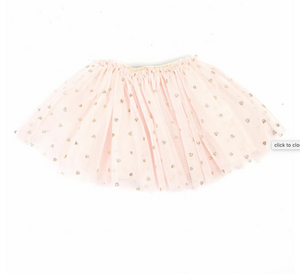 DOE A DEAR- PINK TUTU WITH GOLD HEARTS