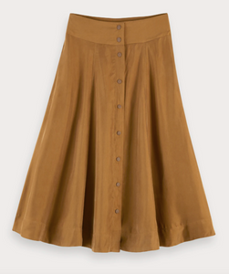 SCOTCH & SODA- CAMEL MIDI LENGTH SKIRT IN CUPRO QUALITY