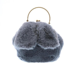 DOE A DEAR- PLUSH GREY FURRY RABBIT EAR PURSE