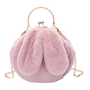DOE A DEAR- PLUSH PINK FURRY RABBIT EAR PURSE