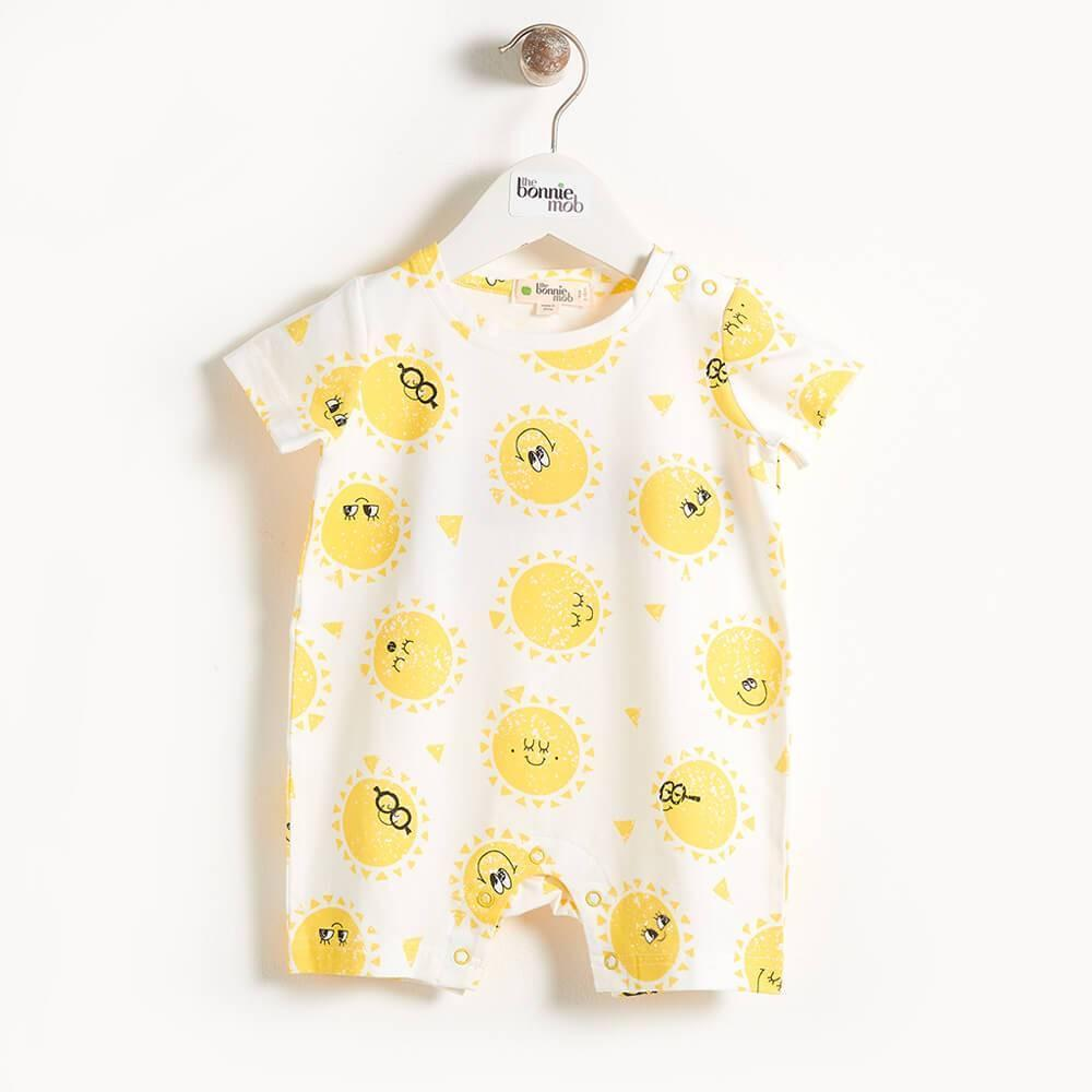 THE BONNIE MOB- DAMIEN - PRINTED SHORTY BABY PLAYSUIT - SUNSHINE PRINT
