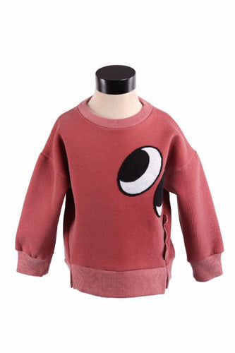 LITTLE WHO- DINO SWEATSHIRT (PALE RED)