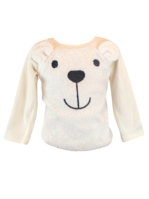 LITTLE WHO - BEIGE L/S FUR BEAR SWEATER