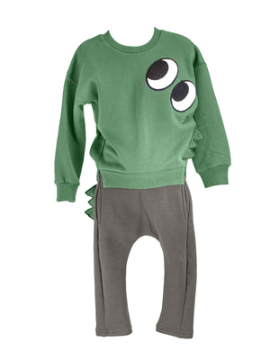 LITTLE WHO - DINO SWEATSHIRT (GREEN)