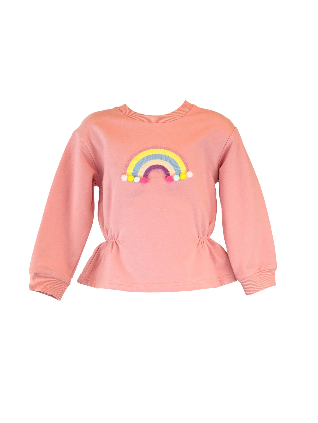 LITTLE WHO - L/S PINK RAINBOW CREWNECK SWEATER