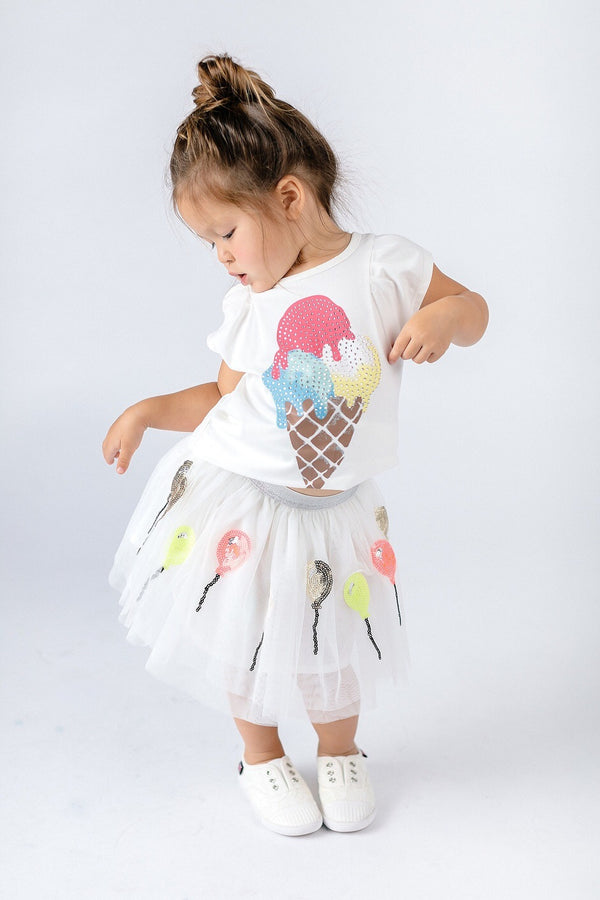 SLEEVELESS RHINESTONE ICE CREAM TOP - DOE A DEAR