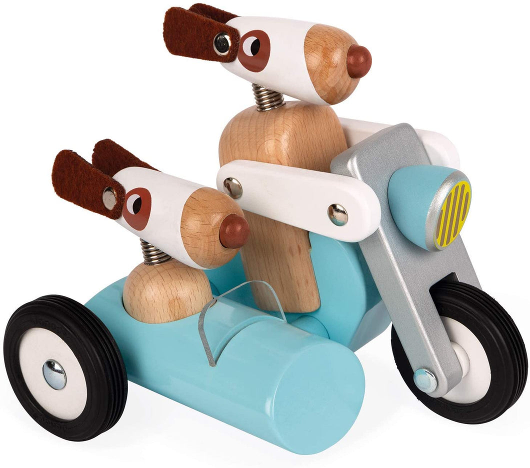 JANOD - SPIRIT WOOD MOTORCYCLE & SIDE CAR PUSH TOY