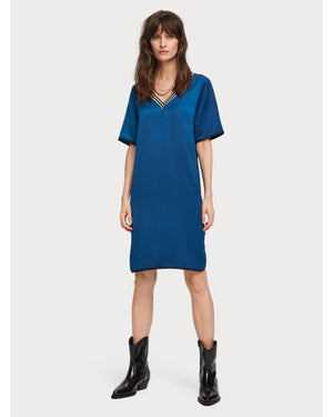 SCOTCH & SODA- WOMEN'S BLUE V-NECK DRESS