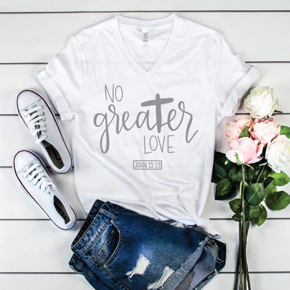 No Greater Love {White Triblend V-Neck}