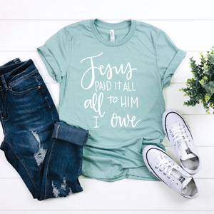 Jesus Paid It All {Heather Dusty Blue Crewneck}