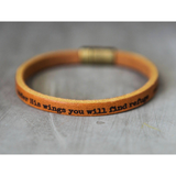 Under His Wings You Will Find Refuge Leather Bracelet