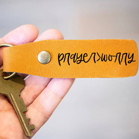 Prayer>Worry Leather Keychain
