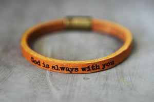 God is Always With You Leather Bracelet