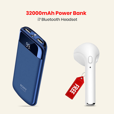 32000mAh Power Bank with I7 Wireless Headset Free