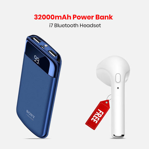 32000mAh Power Bank with Free I7 Wireless Headset